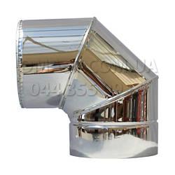Коліно для димоходу утеплене 0,8 мм ф130/200 нерж/нерж 90гр (сендвіч) AISI 321