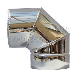 Коліно для димоходу утеплене 0,8 мм ф150/220 нерж/нерж 90гр (сендвіч) AISI 321