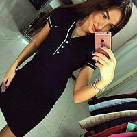 """Женское платье с воротником-короткий рукав, Спортивное платье """"Polo"""": + черный цвет,в наличии 2 цвета,р. 42-46"""