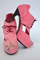 """Туфли женские с вышивкой """"кот"""" IK-320 (розовый), фото 1"""