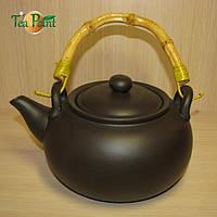 """Чайник глиняный с бамбуковой ручкой """"Черное золото"""" исин"""