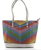 Стильная яркая вместительная женская прочная сумка art. 16087 белая/цветная
