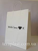 Пакет бумажный белый с печатью 250х150х350