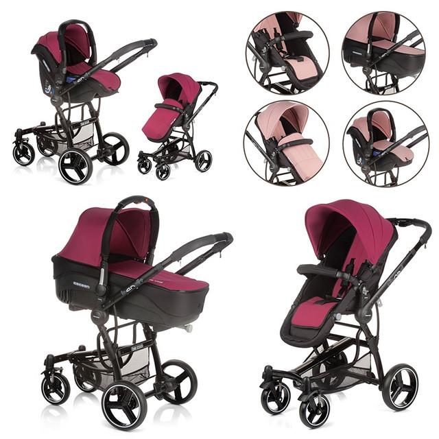 Универсальная коляска 3 в 1 Be Cool Bandit-3 цвет Naif, (бордовый- розовый)