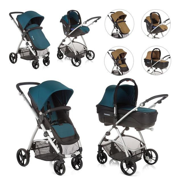 Детская универсальная коляска 3 в 1 Be Cool Slide-3 TOP, Lounge, желтый / зеленый