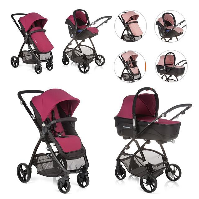 Детская универсальная коляска 3 в 1 Be Cool Slide-3 TOP, Naif, бордовый / розовый