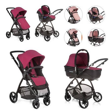 Детская универсальная коляска 3 в 1 Be Cool Slide-3 TOP, Naif, бордовый / розовый, фото 2