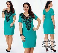 Платье женское нарядное с глубоким декольте и кружевом, разные расцветки, большие размеры