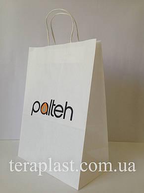Пакет бумажный белый с печатью 2 цвета 250х150х350, фото 2