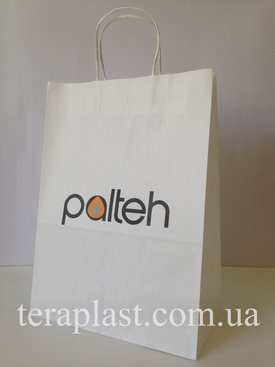 Пакет бумажный белый с печатью 2 цвета 250х150х350