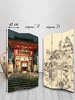 Ширма тканевая, двусторонняя, Японская архитектура