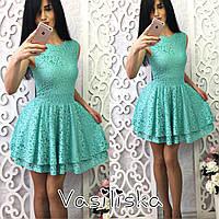 Пышное платье из гипюра (мята и беж)