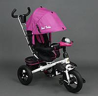 Детский трёхколёсный велосипед с надувными колёсами Best Trike родительской ручкой поворотное сидение