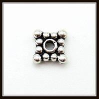 Спейсер, рондель метал. квадратный, серебро (0,6*0,6 см) 60 шт в уп.