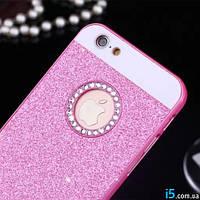 Чехол пластиковый модный розовый блестки песок на Iphone 6 plus
