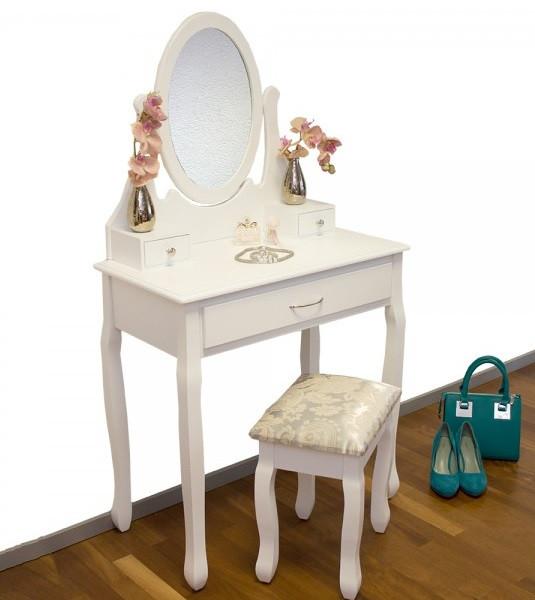 Белый туалетный столик + зеркало + пуфик