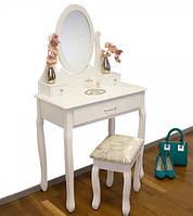 Белый туалетный столик + зеркало + пуфик, фото 1