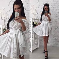Женское модное белое платье из прошвы