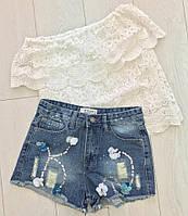 Женские красивые джинсовые шорты с пайетками