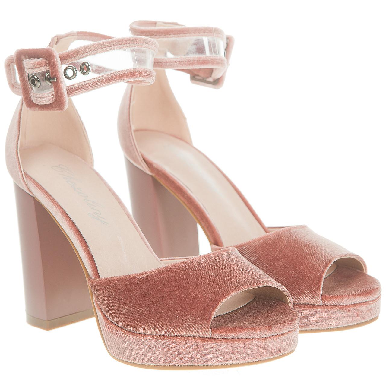 Босоножки женские Chezoliny (велюровые, розовые, на высоком каблуке, оригинальные)