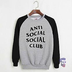 Свитшот Anti social club черный с серым