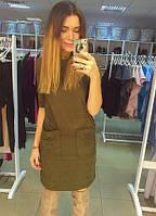 Прямое замшевое платье