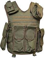 Жилет тактический RSS Передний и задний карманы для бронеплит 255х300 мм, подсумки в комплекте ц:olive