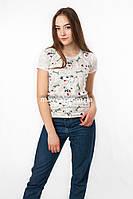 Женская футболка подросток с принтом Собачки цвет молочный p.42-44 SS11-1