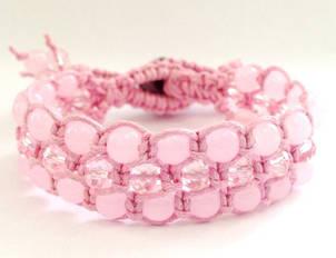Браслет Рожевий кварц + кришталь. Бавовняний шнур. 3 ряди, фото 2