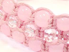 Браслет Рожевий кварц + кришталь. Бавовняний шнур. 3 ряди, фото 3
