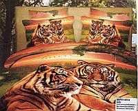 Постельное сатин 3D Евроразмера Тигровое