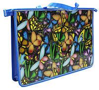 """Папка-портфель школьная А4, пластиковая на молнии, 1 отделение  2 тканевые ручки """"Бабочки"""""""