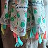 Палантин лён в украинском стиле с разноцветными цветами , фото 4