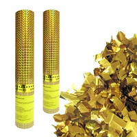 Пневмохлопушка в пластиковой тубе Золотое конфетти 30 см