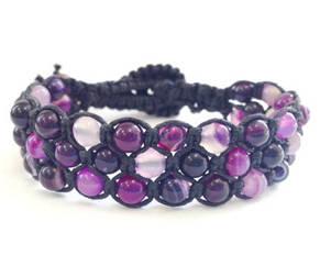 Браслет Агат фиолетовый. Хлопковый шнур. 3 ряда, фото 2