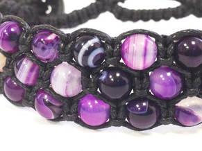 Браслет Агат фиолетовый. Хлопковый шнур. 3 ряда, фото 3