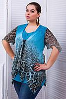 Блуза из купонной ткани ЕВА аква