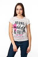 Женская футболка подросток с принтом Young цвет белый p.42-44 SS12-1