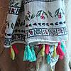 Палантин весенний лён в украинском стиле с чудесным сочетанием птиц и цветов , фото 5