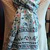 Палантин весенний лён в украинском стиле с чудесным сочетанием птиц и цветов , фото 4