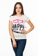 Женская футболка подросток с принтом Happy цвет белый p.42-44 SS13-1