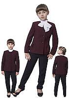 Пиджак школьный для девочки м-863 рост 116 122 128 134 140 146 152 158 и 170 бордовый, фото 1