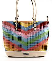 Стильная яркая вместительная женская прочная сумка art. 16087 бежевая/цветная