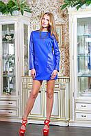 Платье-туника с эко-кожей ДЕЙЗИ электрик