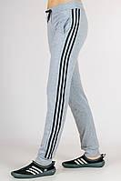 Спортивные штаны женские с лампасами (светло-серые)