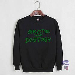 Спортивная кофта Skate and Destroy, Скате и Дестрой, свитшот, трикотаж, мужской,черного цвета,копия