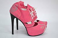 """Туфли женские с вышивкой """"кот"""" IK-320 (коралл), фото 1"""
