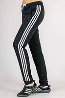 Спортивные штаны женские с лампасами (черные)