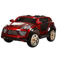 Детский электромобиль с мягкими колесами Porshe Cayene M 2735 EBLRS-3, кожаное сиденье