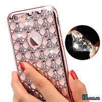 Чехол силиконовый розовый стразы алмазы на Iphone 7 PLUS